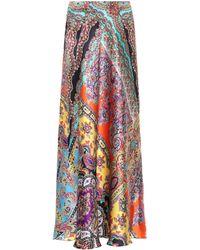 Etro - Paisley Silk-satin Maxi Skirt - Lyst
