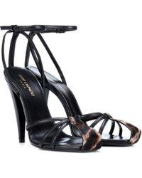 a33ccc0548e2 Lyst - Saint Laurent Jane Leather Chain-Detail Sandals in Black