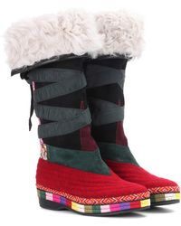 Etro - Embroidered Suede Boots - Lyst