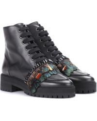 Rochas - Embellished Leather Ankle Boots - Lyst