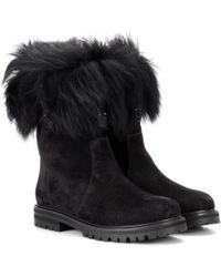Ferragamo - Shearling-trimmed Suede Boots - Lyst