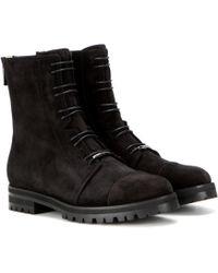 Jimmy Choo - Veloursleder-Boots Haze Flat - Lyst