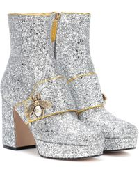 Gucci - Glitter Plateau Ankle Boots - Lyst