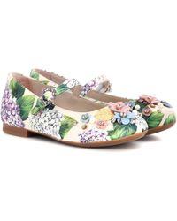 Dolce & Gabbana - Crystal-embellished Satin Ballerinas - Lyst