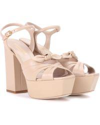 Saint Laurent | Candy 80 Leather Plateau Sandals | Lyst