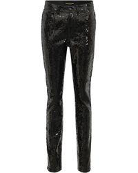 Saint Laurent - Sequinned Cotton-blend Pants - Lyst