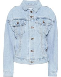 4eacdbc637c7 Re Done + Levi s Cropped Two-tone Denim Jacket in Blue - Lyst