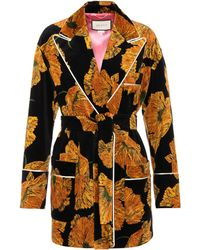 Gucci | Floral-printed Velvet Coat | Lyst