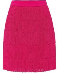 Stella McCartney - Fringed Crêpe Miniskirt - Lyst