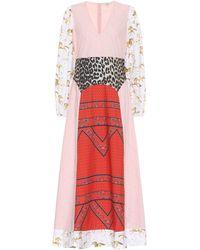 Ganni - Mixed Cotton Poplin Maxi Dress - Lyst