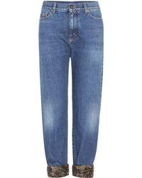 Saint Laurent - Sequin-trimmed Jeans - Lyst