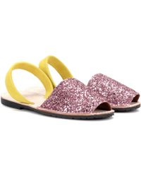 Del Rio London - Glitter And Suede Sandals - Lyst