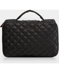 MZ Wallace - Quilted Black Zip Round Cosmetic - Lyst
