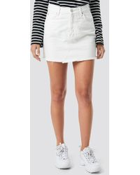Mango - Musthave Denim Skirt White - Lyst