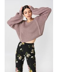 NA-KD - Short Cable Knitted Sweater Dusty Dark Pink - Lyst