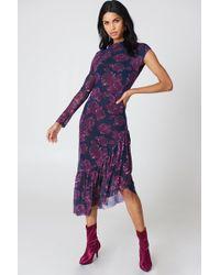 NA-KD - One Sleeve Mesh Dress Navy/purple - Lyst