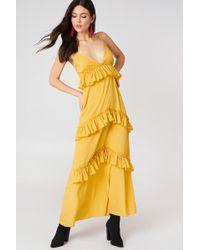 Boohoo - Ruffle Strap Maxi Dress Ochre - Lyst