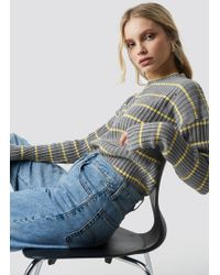 Trendyol - Striped Knitted Sweater Gray - Lyst