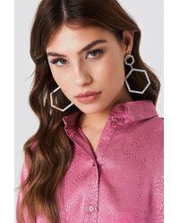 NA-KD - Rhinestone Hexagon Earrings - Lyst