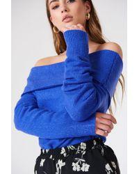NA-KD - Offshoulder Folded Wide Sweater Cobalt - Lyst