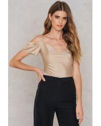 Lavish Alice - Ruche Bardot Bodysuit - Lyst