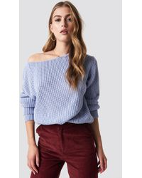 Glamorous - Off Shoulder Knitted Top Cornflower Blue - Lyst