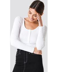 NA-KD - Ribbed Henley Top Offwhite - Lyst