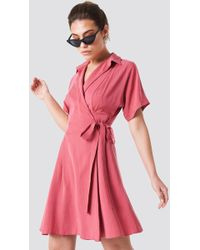 Trendyol - Wrap Around Midi Dress Pink - Lyst