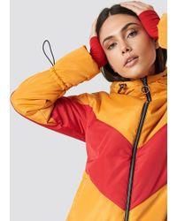 Glamorous - Blocked Padded Jacket Golden Yellow Red - Lyst