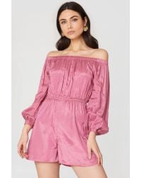 NA-KD - Off Shoulder Balloon Sleeve Playsuit - Lyst