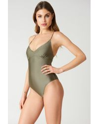 NA-KD - Lacing Back Swimsuit Dark Sand - Lyst