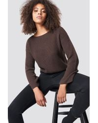 NA-KD - Cropped Long Sleeve Knitted Sweater Brown - Lyst