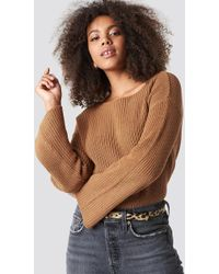 NA-KD - Cropped Long Sleeve Knitted Sweater Tan - Lyst