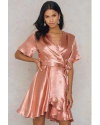 NA-KD - Metallic Wrap Over Dress Pale Peach - Lyst