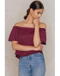 Boohoo - Gingham Bardot Top Red/black - Lyst