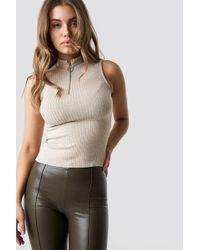 Trendyol - Zippered Vertical Collar Top Beige - Lyst