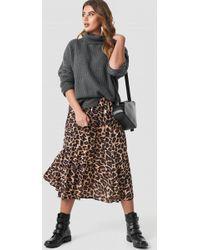 Trendyol - Leopard Patterned Pleat Midi Skirt Brown - Lyst