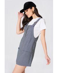 Mango - Checkered Pinafore Dress - Lyst