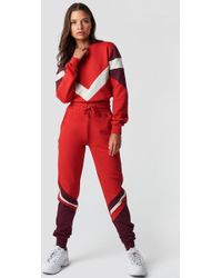 NA-KD - Stripe Blocked Sweatpants Red - Lyst