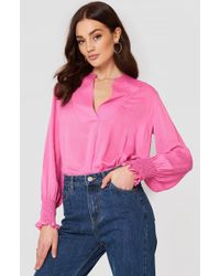 Mango - Ruched Sleeve Blouse - Lyst