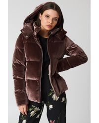 Boohoo - Velvet Padded Jacket - Lyst