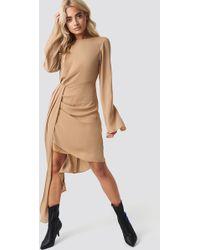NA-KD - Draping Detail Asymmetric Dress Beige - Lyst