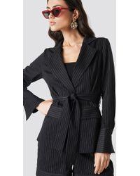 NA-KD - Tie Waist Striped Blazer Black - Lyst