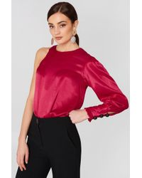 Mango - Asymmetric Satin Blouse Red - Lyst