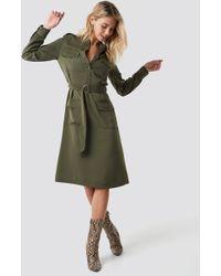 NA-KD - Pocket Detail Belted Shirt Dress Khaki Green - Lyst