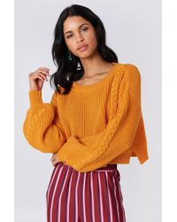 NA-KD - Short Cable Knitted Sweater Orange - Lyst