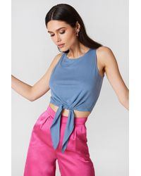 NA-KD - Knot Front Cropped Top Dusty Blue - Lyst