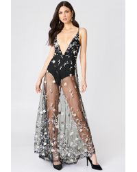 Boohoo - Embroidered Maxi Dress Black - Lyst