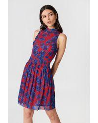 NA-KD - Mesh Smock Dress Red/blue - Lyst