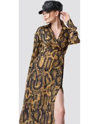 Trendyol - Snake Patterned Midi Dress Multicolor - Lyst
